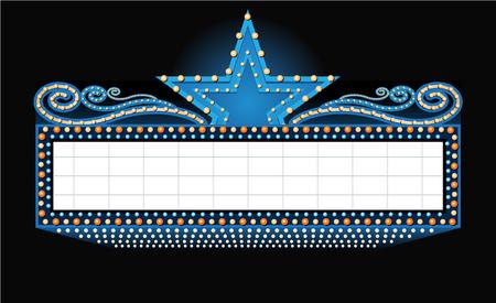 letrero: teatro muestra de la bandera con el lugar para el texto aislado en negro
