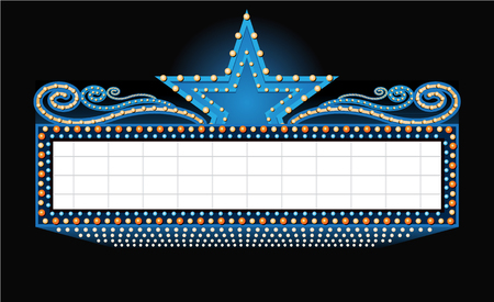 theater sign banner with place for text isolated on black