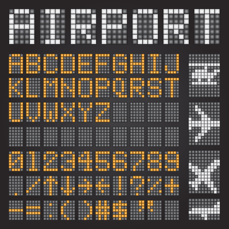 Set of airport letters on a mechanical timetable, airport symbols