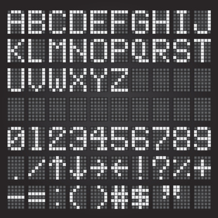 Set of white airport letters on a mechanical timetable, airport symbols