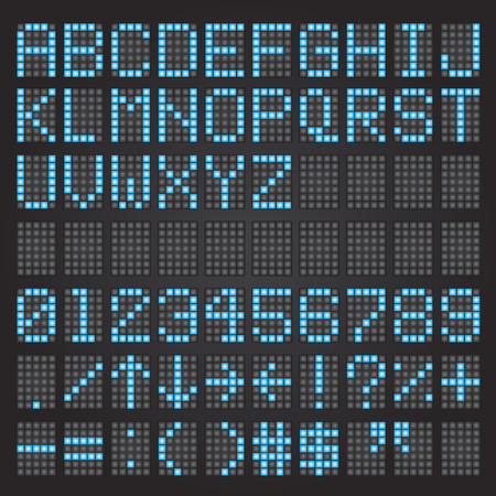 train table: Set of blue airport letters on a mechanical timetable, airport symbols