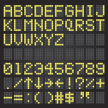 Set of yellow airport letters on a mechanical timetable, airport symbols