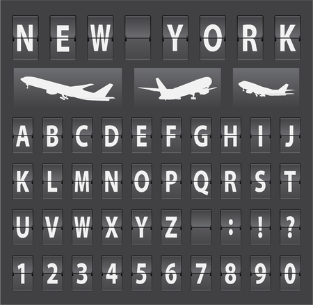 outdated: Alphabet of black mechanical panel and airplane silhouette