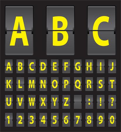 letras negras: vector amarillo del alfabeto del panel mecánico negro