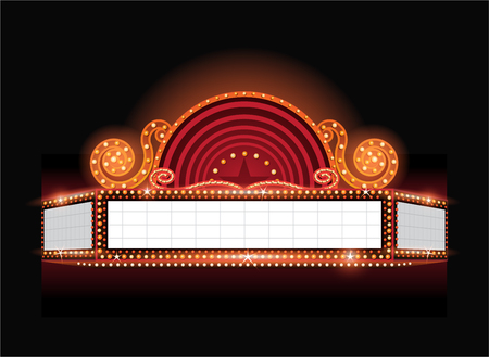 red sign: Brightly theater glowing retro cinema neon sign Illustration