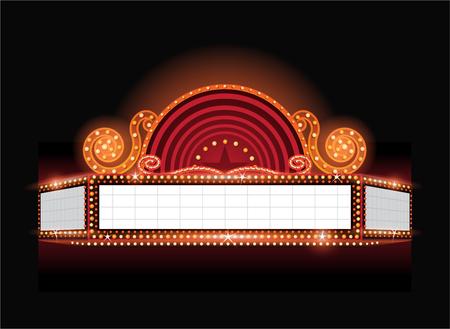 teatro brillantes brillante retro del signo de cine de neón Vectores