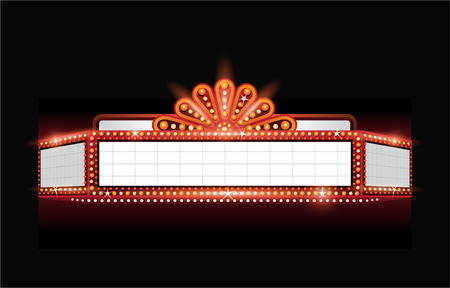 blank sign: Brightly theater glowing retro cinema neon sign Illustration