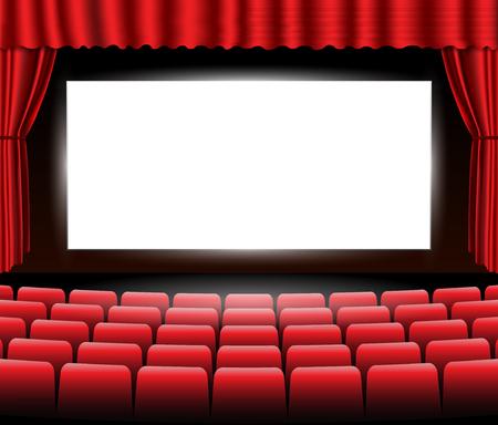 Bioscoop of theater scène met een rood gordijn.