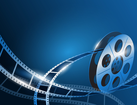 Vector illustration of a film stripe reel on shiny blue movie background Ilustração