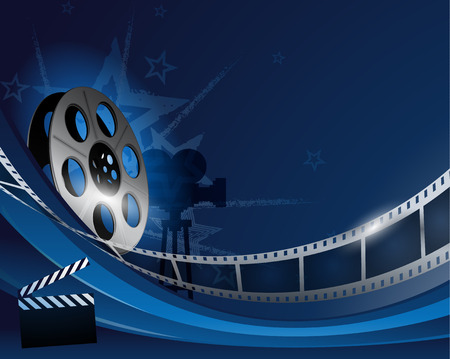 Blue abstract film reel movie background design