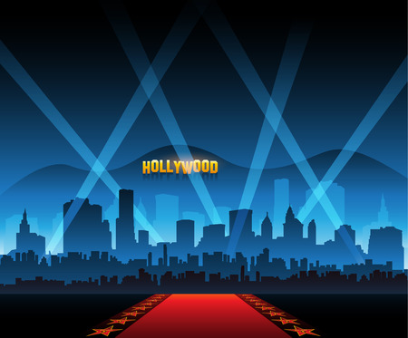 Movie red carpet background and party city Vectores
