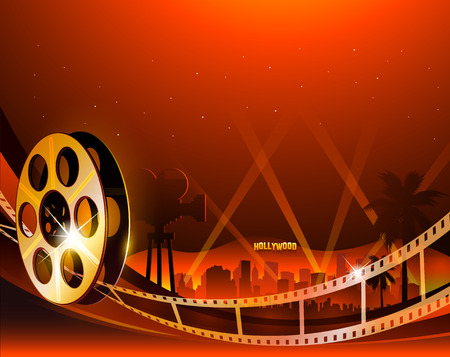 Illustration of a film stripe reel on abstract movie background