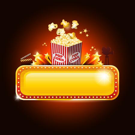 Golden bioscoop banner bord met pop corn Vector Illustratie