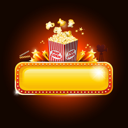 Golden movie theater banner sign with pop corn Illustration
