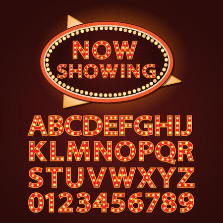 Vector oranje neon lamp brieven font-show bioscoop en theater