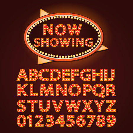 theather: Vector orange neon lamp letters font show cinema and theather