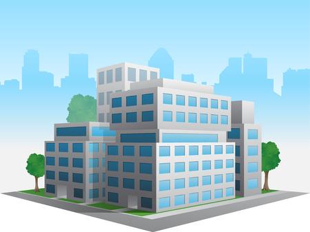Estilizada alterado genérico moderno edificio de oficinas corporativas