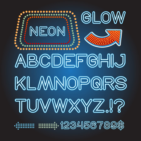theather: Vector blue lamp letters font show cinema and theather