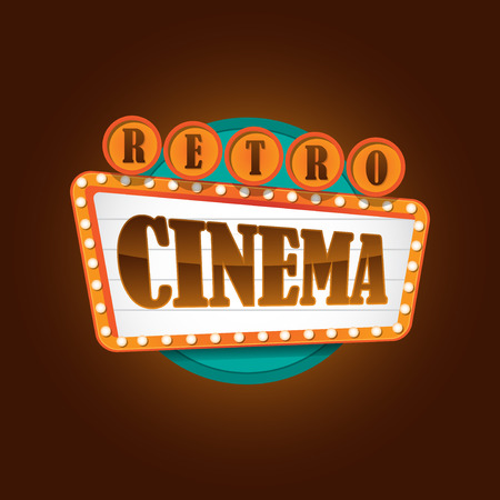 neon sign: retro theater cinema sign Illustration
