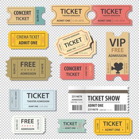 illustration set of different movie theater ticket