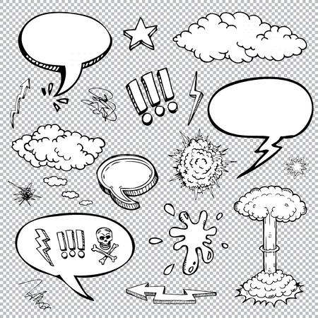 set of comic bubbles and elements with halftone shadows