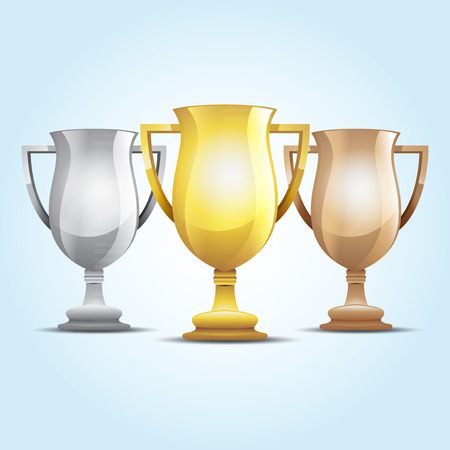 silver: gold, silver and bronze winners cup. illustration background Illustration