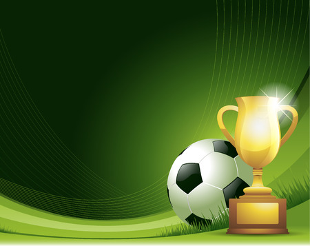 soccer background: Green Soccer background with ball and trophy Illustration