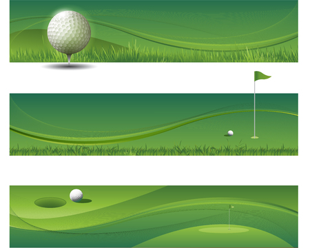 Abstract green banners golf background