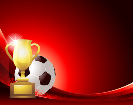 soccer background: Red Soccer background with ball and trophy