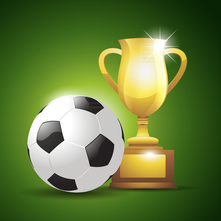 goblet: Gold cup with a soccer ball. illustration background