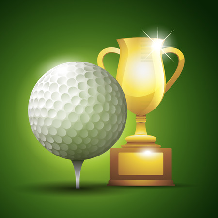 Gold cup with a golf ball. illustration background