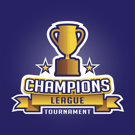 sports league: Champion sports league emblem badge graphic with trophy background