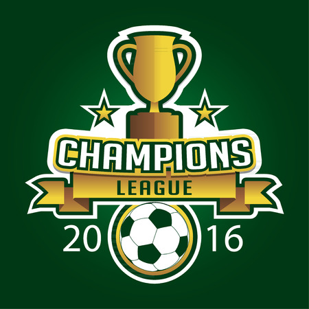athletic type: Champion soccer league logo emblem badge graphic with trophy background