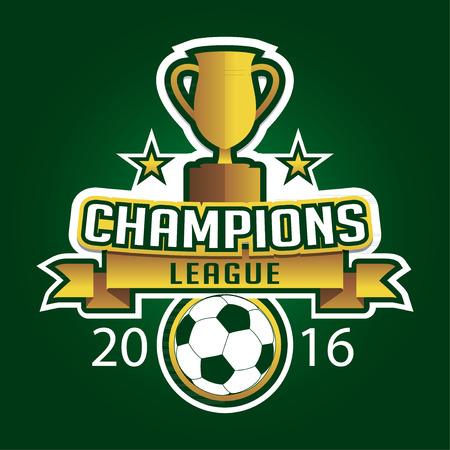 league: Champion soccer league logo emblem badge graphic with trophy background