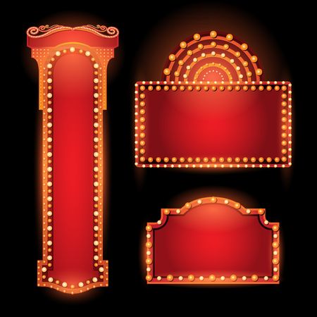 Brightly vintage glowing retro cinema neon sign 일러스트
