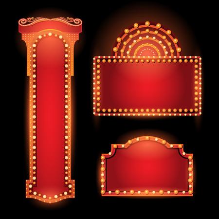 Brightly vintage glowing retro cinema neon sign Vettoriali