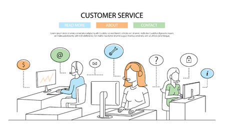 support center: Illustration of modern line flat design composition infographics elements with call center support team and its workplace
