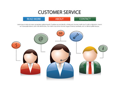 anonymity: Male female call center avatar icons a faceless man and woman wearing headsets with colorful speech bubbles conceptual of client services communication design