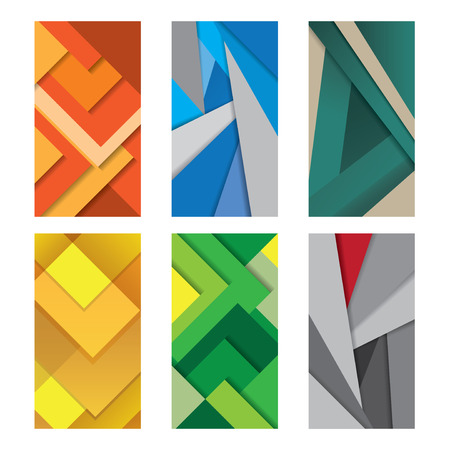 material: Six Background Unusual modern material design Illustration.