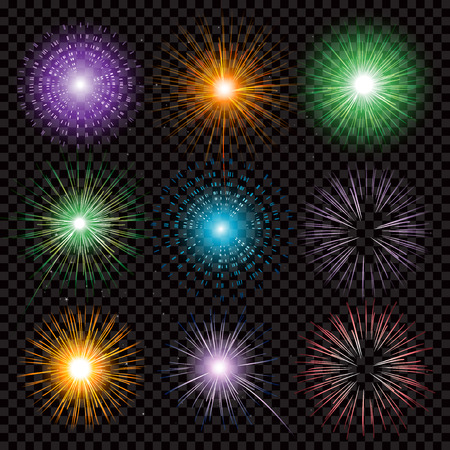 fire works: Fireworks collection transparency isolated on black background Illustration