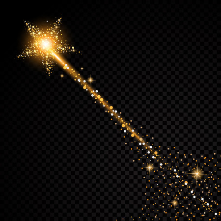 Gold glittering star dust trail sparkling particles on transparent background. Stock Illustratie