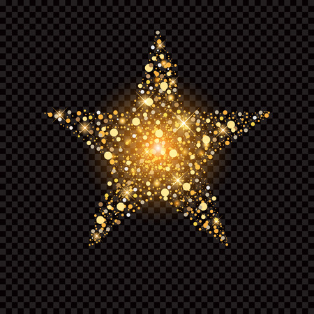 outburst: golden star with sparkles isolated on black