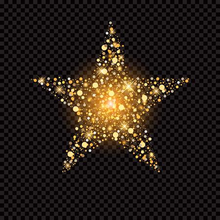 gouden ster met glitters geïsoleerd op zwart Vector Illustratie
