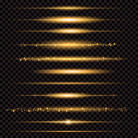 Gold glittering star dust trail sparkling particles on transparent background. Vettoriali