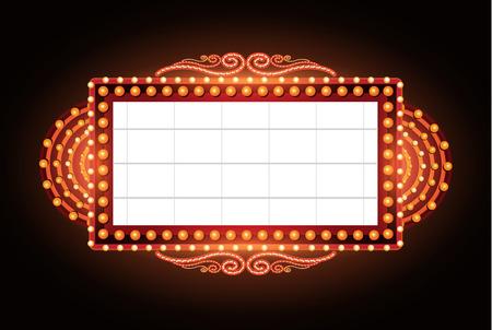 neon sign: Brightly vintage glowing retro cinema neon sign Illustration