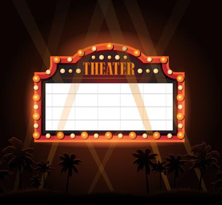 illuminated: Brightly vintage glowing retro cinema neon sign Illustration
