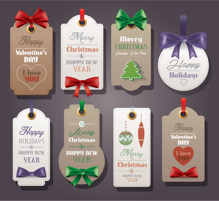 Set of vintage tags with silk bows for Christmas and Valentine s Day