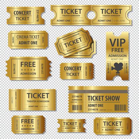 El conjunto del oro y las plantillas de cupones Foto de archivo - 58708364