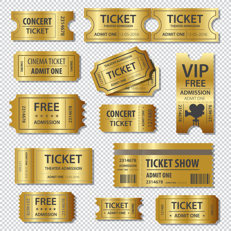 Set of golden tickets and coupons templates Stock Vector - 58708364