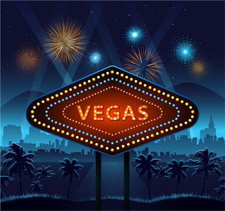 city lights: Vegas city sign at night and city background with lights and fireworks Illustration
